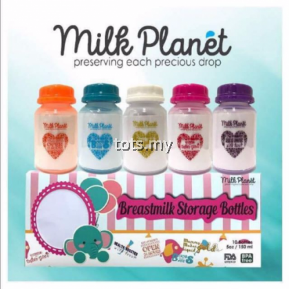 MILK PLANET BREASTMILK STORAGE BOTTLE 5 OZ - STANDARD NECK (1 BOX/10 PCS) : LOVE